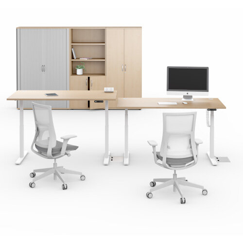 LEAP Electric Height Adjustable Rectangular Sit Stand Desk Scallop Top W1400xD800xH620-1270mm Beech Top Silver Frame. Prevents & Reduces Muscle & Back Problems, Heart Risks & Increases Brain Activity. Additional Image 11