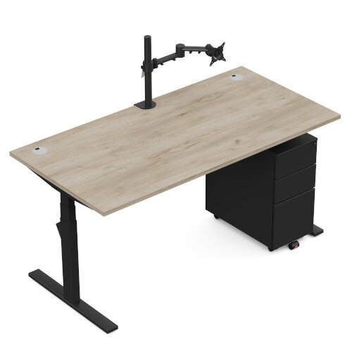 LEAP Electric Height Adjustable Rectangular Sit Stand Desk Plain Top W1600xD800xH620-1270mm Beech Top Silver Frame. Prevents & Reduces Muscle & Back Problems, Heart Risks & Increases Brain Activity. Additional Image 11