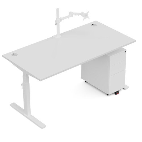 LEAP Electric Height Adjustable Rectangular Sit Stand Desk Scallop Top W1200xD700xH620-1270mm Dark Walnut Top White Frame. Prevents & Reduces Muscle & Back Problems, Heart Risks & Increases Brain Activity. Additional Image 13