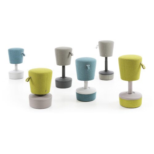 Mickey Ergonomic Height Adjustable Sit Stand Stool - Pouffe with Aqua Green Fabric Seat & Plastic Grey Base & Frame - Seat Adjusts from 570-900m with Swivel & Tilt Function Perfect for use with Sit Stand Desks Additional Image 7