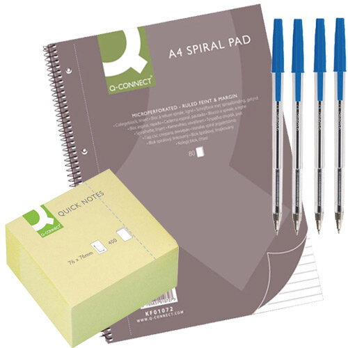 Q-Connect Home Office Stationery Bundle - Pens, Sticky Notes, Notepads