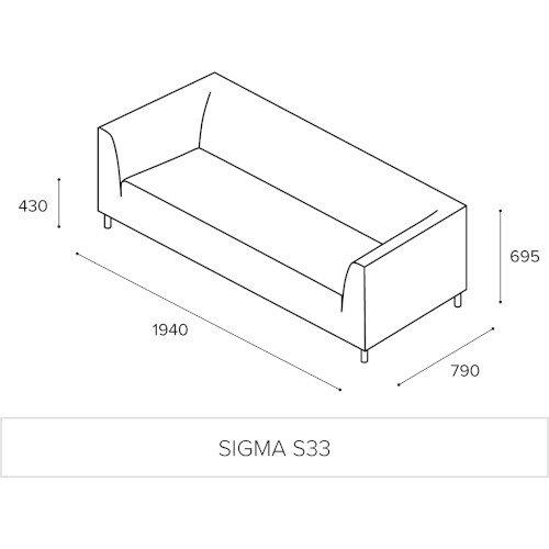 SIGMA 3 Seater Sofa With Standard Metal Legs - EVERT Fabric Black E001 Additional Image 14