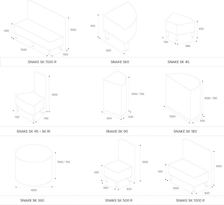 SNAKE Modular Soft Seating Range Modules Dimensions