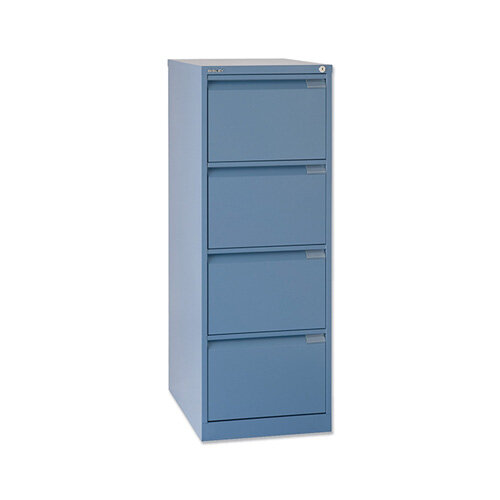 Ordinaire 4 Drawer Steel Filing Cabinet Flush Front Blue ...