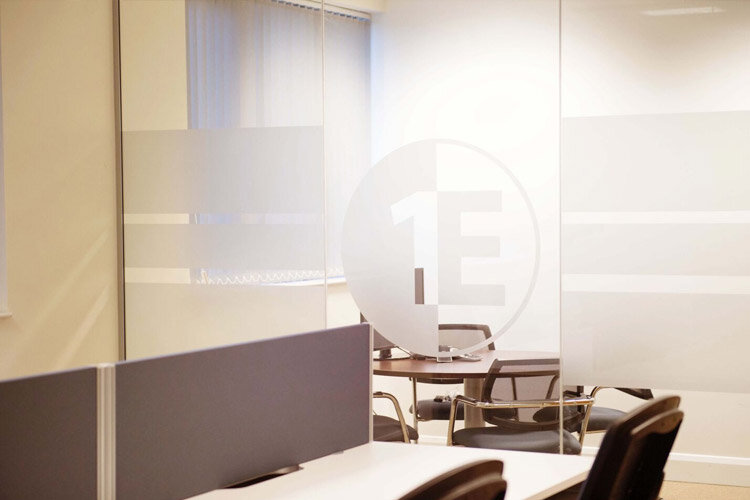 1E Office Partitions With Company Logo Desking