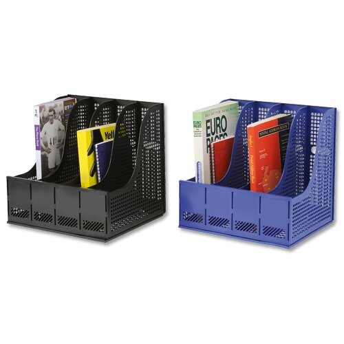 Recycled Plastic Magazine Rack Black For Lever Arch 4