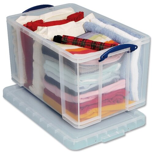 plastic storage box 84 litre stackable clear really useful. Black Bedroom Furniture Sets. Home Design Ideas