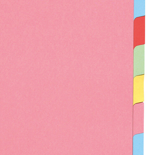 10 Part Subject Filing File Dividers A4 Multi Punched Coloured Inserts Paper