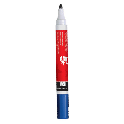 5 Star/® Blue Dry Wipe Whiteboard Marker Pen 3mm Bullet Tip