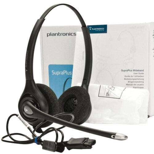 Plantronics SupraPlus HW261N/A Wideband Binaural Noise Cancelling Headset  Black, Quick Disconnect Connector, Premium audio clarity, Sensitive Boom-Mic