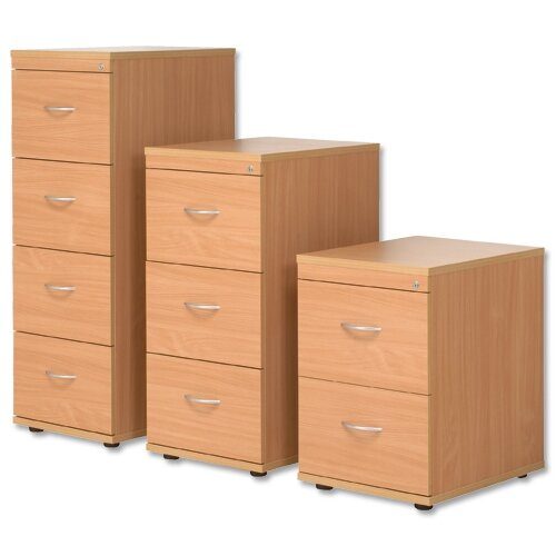 4 Drawer Wooden Filing Cabinet in Beech Height 1320mm Kito