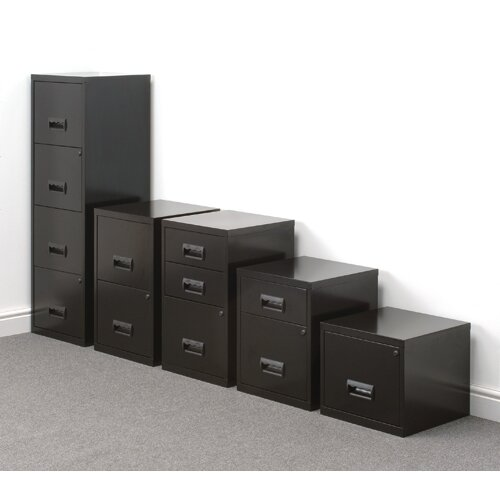 Filing Cabinet Steel 4 Drawer Black A4 Height 1250mm