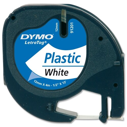 dymo letratag tape plastic 91201 12mm x 4m pearl white. Black Bedroom Furniture Sets. Home Design Ideas