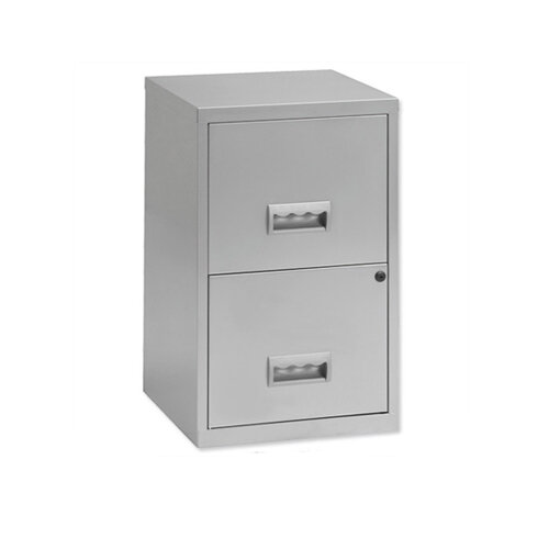 2 Drawer Filing Cabinet Cube Silver Steel Lockable A4