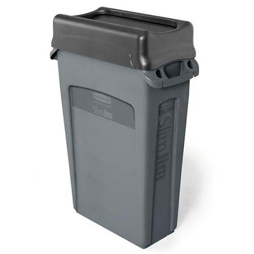 rubbermaid slim jim recycling bin container with venting channels 87l grey without lid huntoffice. Black Bedroom Furniture Sets. Home Design Ideas