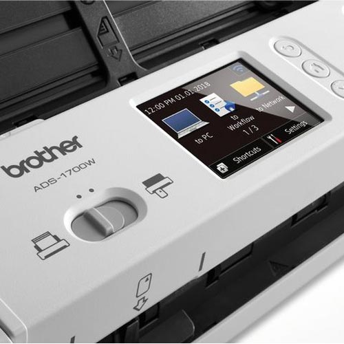 Brother ADS-1700W A4 Mobile Document Scanner, Scan Speed up to 25 pages,  USB, LCD Touchscreen, Windows