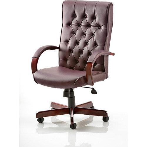 Executive Office Chair Burgundy Leather