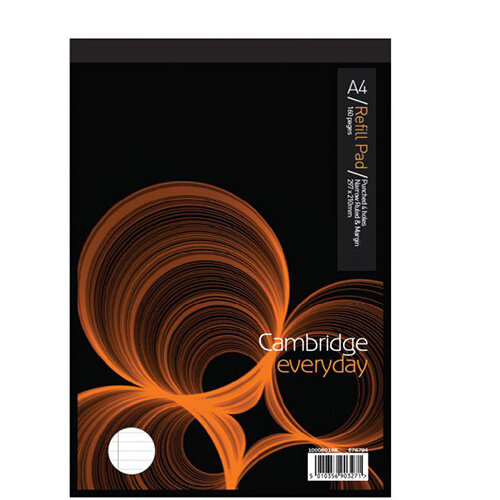Cambridge Narrow Ruled A4 Refill Pad Headbound Margin Punched 4 Holes 160  Pages E76794 Pack 5