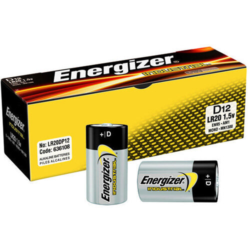 Pack of 50 Energizer Batteries EN95 D Size Industrial Alkaline Battery Bulk Pack