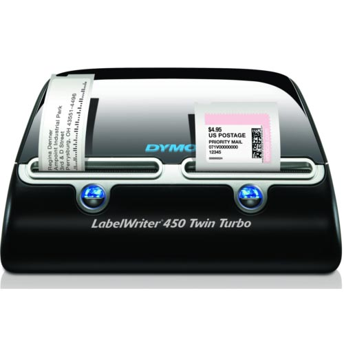 DYMO LabelWriter 450 Twin Turbo - Label printer - thermal paper - Roll (6 2  cm) - 600 x 300 dpi - up to 71 labels/min - capacity: 2 rolls - USB
