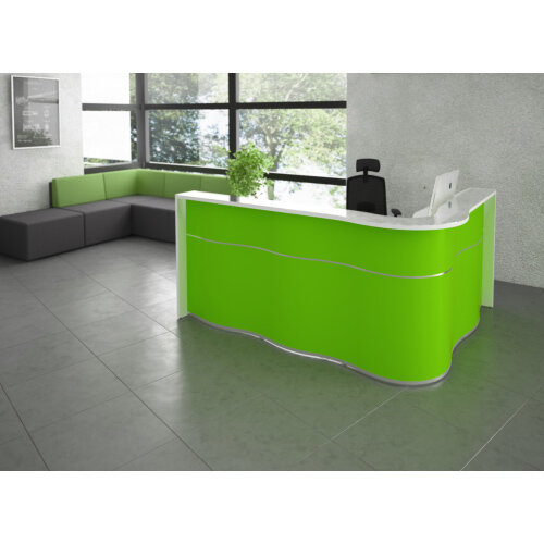 buy popular 451b8 541f2 Wave Modern Design L-Shaped Reception Desk with White Counter Top & High  Gloss Orange Front W2780xD1591xH1103mm