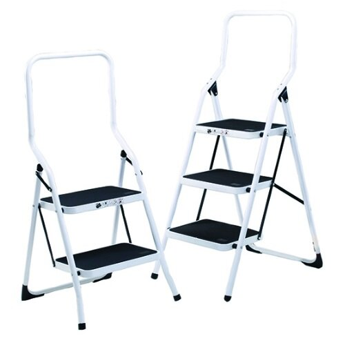 Safety Steps Folding Step Stool With Rail 3 Tread Height 0