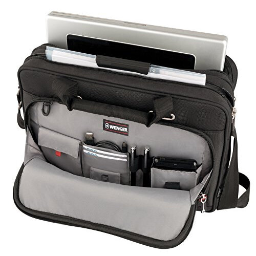 2b51bf1b6f33 Wenger Sensor 15in MacBook Pro Briefcase with iPad Pocket - Easy-access  front zippered pocket - Adjustable padded shoulder strap & double soft grip  ...