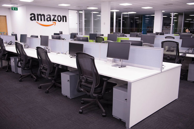 Amazon main office desking project bench desking with pedestal