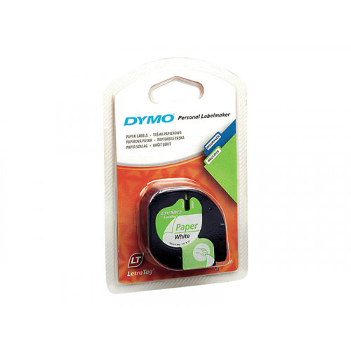 DYMO LetraTAG - Paper - black on white - Roll (1 2 cm x 4 m) 1 roll(s) tape  - for LetraTag LT-100H, LT-100T