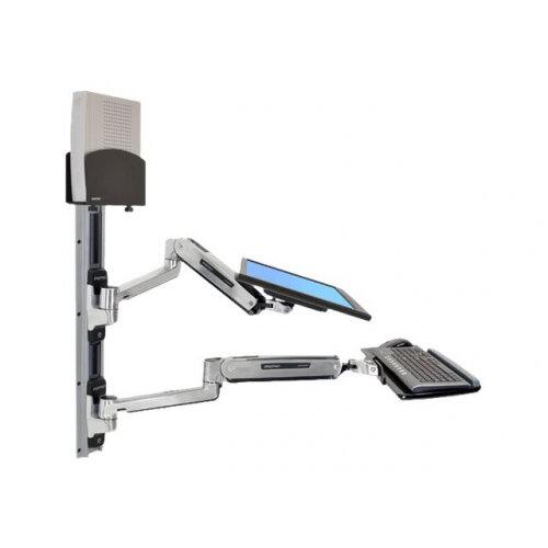 Ergotron LX Sit-Stand Wall Mount System - Mounting kit (wall arm, CPU  holder, mouse holder, 2 track covers, keyboard arm, 2 cable channels, wrist
