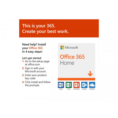 Microsoft Office 365 Home - Box pack (1 year) - up to 6 people - medialess,  P4 - Win, Mac, Android, iOS - English - Eurozone