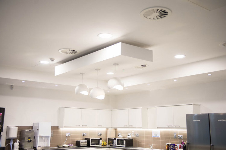 ... Installation Project By Huntoffice Interiors Amazon Contact Centre In  Cork Canteen Bespoke Ceiling System Solution By Huntoffice Interiors ...