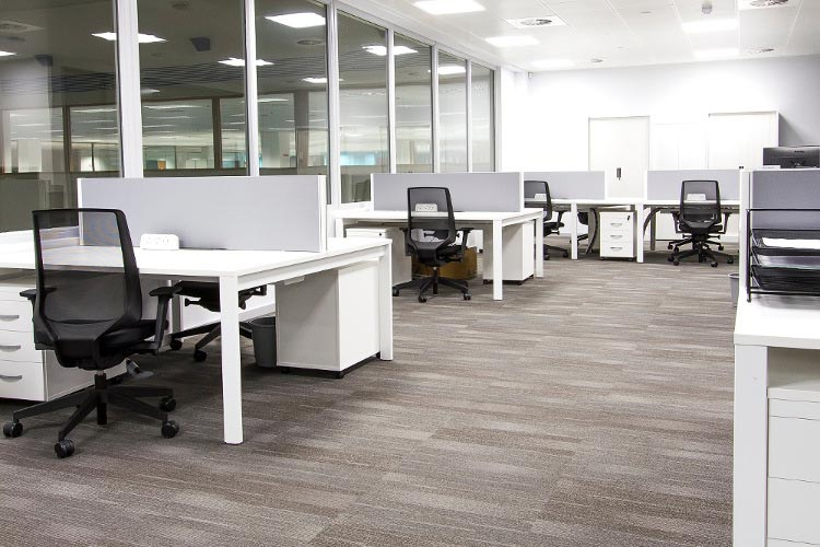Designer Group Office Fitout Dublin by HuntOffice Interiors - Bench Desking System in Main Office