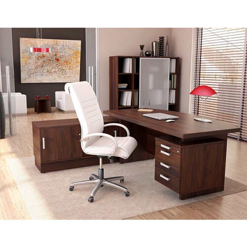 Grand Executive Office Desk With Right Side Drawers 1800mm Dark