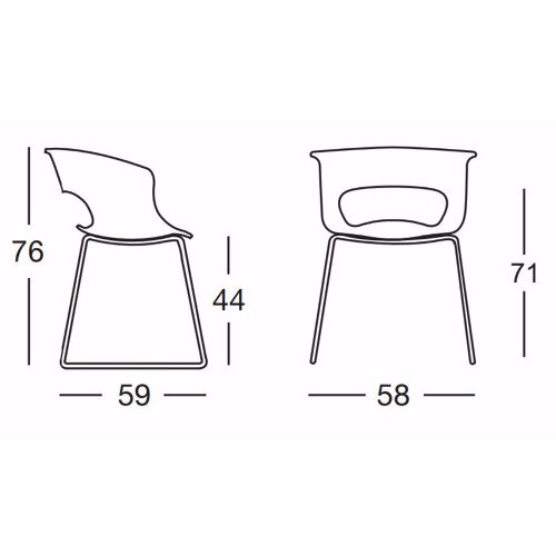 Miss B Antishock Canteen Breakout Chrome Sled Frame Chair Glossy