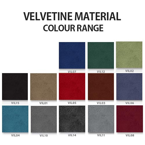 Velvetine material colour range for Sigma soft seating