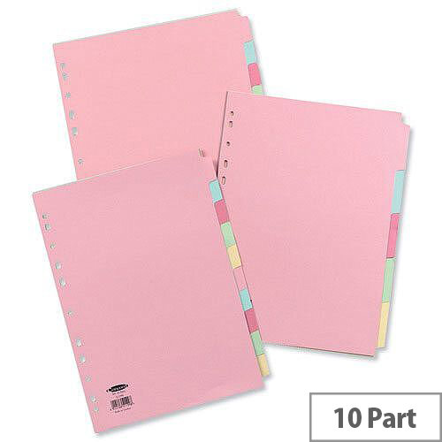 Concord Subject Dividers 10-Part A4 Assorted