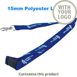 15mm Screen Printed Polyester Lanyards 002107659 - Customise with your brand, logo or promo text