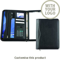 Houghton A4 Deluxe Zipped Ring Folder With Calculator 00289911 - Customise with your brand, logo or promo text