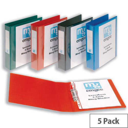 A4 Ring Binder Blue PVC 2 Ring Size 40mm Pack 5 Emgee