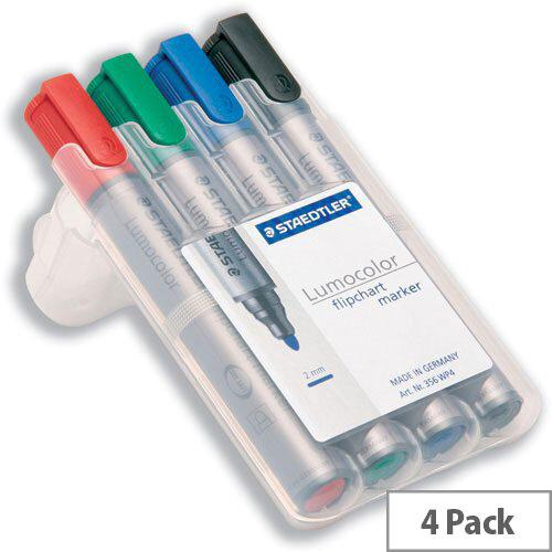 Staedtler Lumocolor Flipchart Markers Bullet Tip 2mm Assorted Pack 4