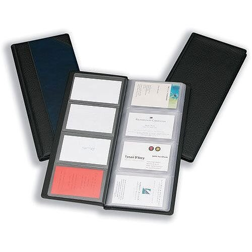 Black Business Card Holder PVC 64 Pockets for 128 Cards Goldline Classic