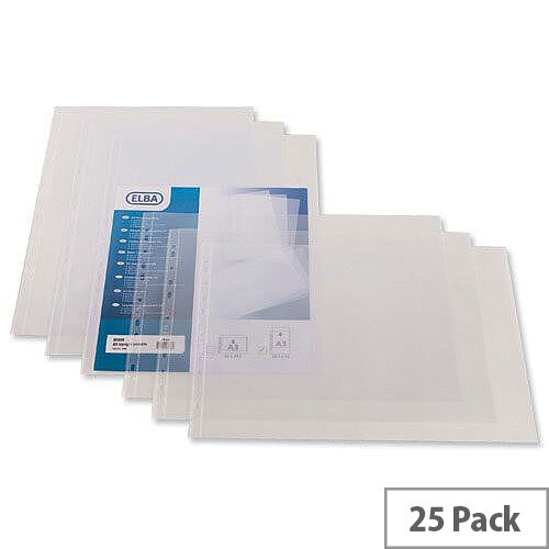 Elba Pocket Polypropylene Multipunched Top-opening A3 Portrait Clear 120 Micron Ref 400005480 Pack 25