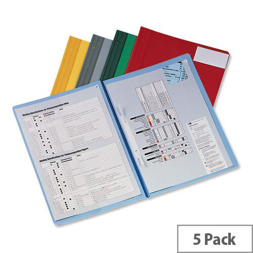 Rexel Nyrex A4 Blue Flat File with Inside Front Full Pocket 13035BU Pack 5