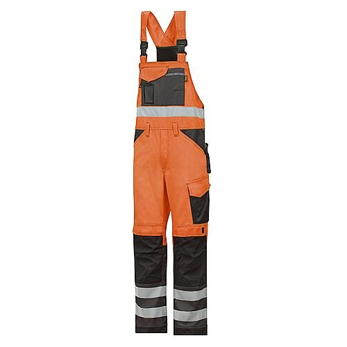 "Snickers 0113 High-Vis Bib &Brace Trousers Class 2 Size 256 39""/6'6"" Hi-Vis Orange/Black"