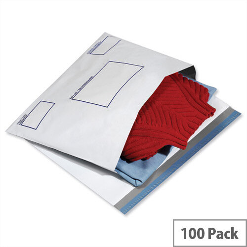 GoSecure White Extra Strong 440x320mm Polythene Protective Envelopes Pack of 100