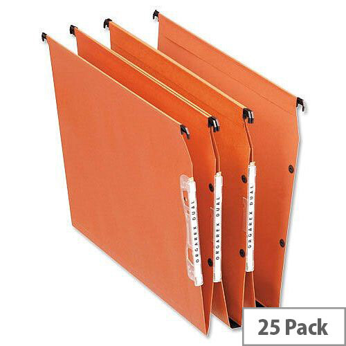 Bantex Linking Lateral Suspension File 330mm Kraft 210gsm Square-base 50mm Capacity Orange Ref 100330745 [Pack 25]