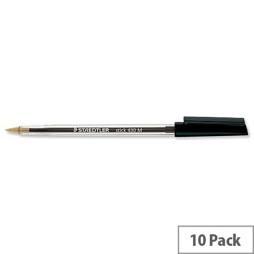 Staedtler 430 Stick Ball Pen Medium 1.0mm Tip 0.35mm Line Black Ref 430M-9 [Pack 10]