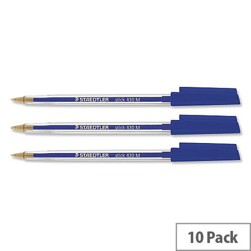 Staedtler Stick Blue Ballpoint Pen 430 10-Pack – ISO 11540 Standard, Medium 1.0mm Tip 0.35mm Line, Airplane-Safe, No Toxic Metals, No Blotting, Long-Lasting &Snug-Fitting Cap (430M-3)