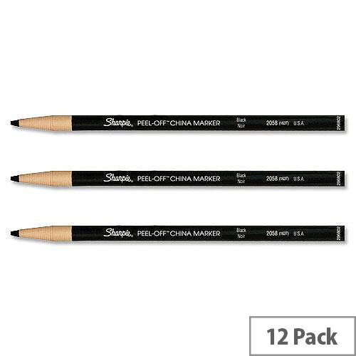 Sharpie China Marker Pencil Black Peel-off Unwraps to Sharpen Pack 12